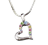 T&C Women's Concise Gift Jewelry 18k White Gold Plated Big Colourful Crystal Heart Pendant Necklace