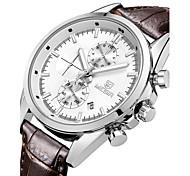 Megir® Men's Date Luminous Hands Chronograph Genuine Leather Strap Quartz Sports Watches