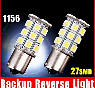 2 X White 1156 BA15S LED 27-SMD Light bulbs Tail Backup Car RV Trailer 1141 1003