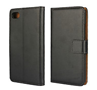 Solid color Stylish Genuine Leather Flip Cover Wallet Card Slot Case with Stand for Blackberry Z30