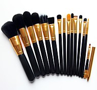 Professional Studio Quality 15 PCS Natural Cosmetic Makeup Brushes Makeup Brush Set Kit (Gold & Silver)