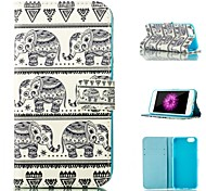 Elephant Pattern Pattern Card Stand Leather Case with Card Slot for iPhone 6 Plus / 6S Plus