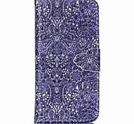 retro bloempatroon pu lederen full body case met kaartslot en staan ​​voor de iPhone 6 plus / iphone 6s plus