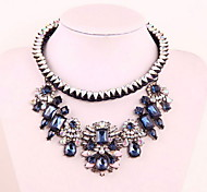 Pendant Dark Blue Flower Crystal Collarbone Necklace Jewelry
