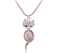 European Style Fashion Individuality Opal  Fox Pendant Necklace