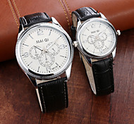 Fashion Leather Band Quartz Couple Watches