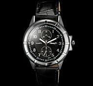 Herren Armbanduhr Quartz PU Band Schwarz Weiß Schwarz Schwarz/Weiß