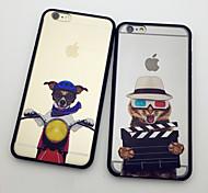 o gato e cão no shell proteção personalidade festival de cinema para iphone 6 6s plus / iphone mais (cores sortidas)
