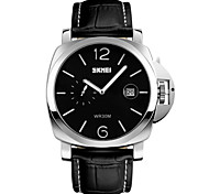 SKMEI® Men's Fashion Large Dial Dress Watch Second Dial Leather Strap Cool Watch Unique Watch