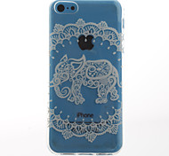 White Elephant Pattern Transparent Soft TPU Back Cover for iPhone 5C