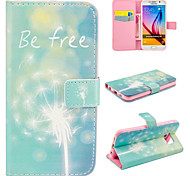Free Dandelion Pattern Relief  PU Leather Wallet Case with Stand and Card Holder for Samsung Galaxy S6/S6 Edge/S5