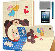 LEXY® Lovely Bear Pattern PU Leather Flip Stand Case with Screen Protector and Stylus for iPad Mini 4