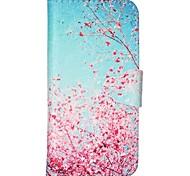 Вишни в цвету шаблон PU кожаный полный случай тела с слот для карт и для iPhone стоят 5с