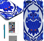 LEXY® Deep Blue Owl Pattern Hard PC Back Case with 9H Glass Screen Protector and Stylus for iPhone 6/6S