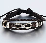Vilam® Vintage Handmade Woven Leather Bracelet With Infinity Sign Adustable Cool Men's Bracelet Jewelry