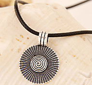 European Style Fashion Metal Love Disc Leather Cord Necklace