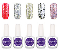 Gelpolish Nail Art Soak Off UV Nail Gel Polish Color Gel Manicure Kit 5 Colors Set S139