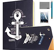 lexy® padrão vela diário caso pu estande da aleta de couro com protetor de tela e caneta para ipad ar / ipad 5