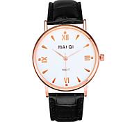 Men's Leather Band Quartz Fine Wristwatch