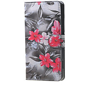 Red Flowers  Magnetic Leather Wallet Handbag Book Cover Case For Flip Huawei ascend G7