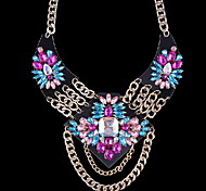 Fashion Exaggerated Colorful Crystal Tassel Necklace Jewelry