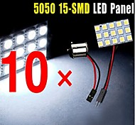 10 X Car RV White 15-SMD 5050 Panel Map Dome Interior Light +1156 BA15S Adapter