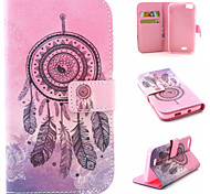 Campanula Pattern Flip Card Leather Phone Case for Wiko LENNY