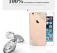 Transparent Bling Floral Mobile Plastic Crystal Rhinestone Hard Back Cover for iPhone 6/6S