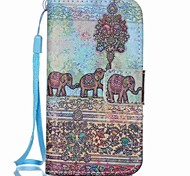 Elephant Painted PU Phone Case for iphone4/4S