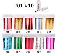 10pcs (4cmX120cm each pcs) Nail Art Transfer Foil Sticker Paper+1pcs Nail Foil Glue