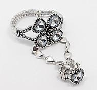 Silver Plated Flower Shape Ring Bracelet