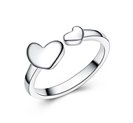 """Jazlyn Unisex Platinum Plated 925 Sterling Silver Lovers Symbol """"Heart to Heart"""" Adjustable Band Rings Couple Rings"""