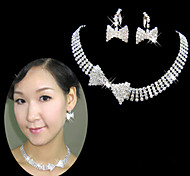 Lucky Doll Women's All Matching 925 Silver Plated Zirconia geometry Bow Tassel Necklace & Earrings Jewelry Sets