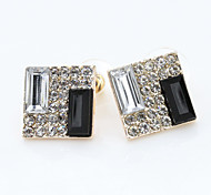 Stud Earrings Simulated Diamond Alloy Elegant Silver-Black Jewelry Daily