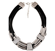 European Style Fashion Four Wax Rope Alloy Necklace