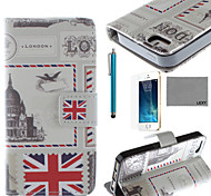 LEXY® UK Envelope Pattern PU Full Body Leather Case with Screen Protector and Stylus for iPhone 5/5S