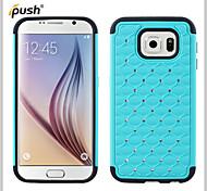 bling ster kristal strass diamant case siliconen case met pc case voor Samsung s6 (verschillende kleuren)