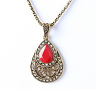 Hollow Gem Diamond Drop Pendant Necklace Bulgaria Jewelry