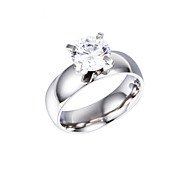 Fashion Stainless Steel Silver Plated Wedding CZ Crystal Women Finger Ring Jewelry(1PC)