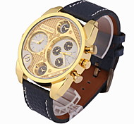 Men's Military Fashion Dual Time Zones Leather Strap Quartz Watch Wrist Watch Cool Watch Unique Watch