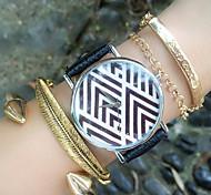 de la impresión de la raya de la geometría relojes vintage mujer, navidad cumpleaños, fiesta, ideas de regalo
