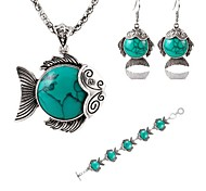 Hot 3 Color Fashion Lovely Fish Turquoise Pendant Necklace Drop Earring Bracelet Wedding Jewelry Set
