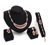 Women's 18K Gold Plated Jewelry Set  Inlaid Zircon Crystal Earrings Ring Bracelet Necklace Set