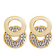 European Style Fashion Drill Double Loop Combination Earrings