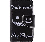Black Smiling Face Painted PU Phone Case for iphone4/4S