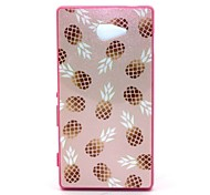 2-in-1 Bling Golden Pineapple Pattern PC Back Cover with PC Bumper Shockproof Hard Case for Sony Xperia M2