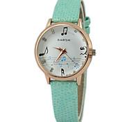 Children's  Musical Note Pattern Dial PU Band Quartz Cute  Wrist Watch