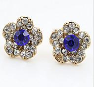 Crystal Rhinestone Fashion Flower Gold Royal Blue Jewelry