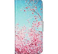 Finger Buckle Red Tree Painted PU Phone Case for iphone 6/6S