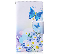 Blue Butterfly Painted PU Phone Case for Huawei P8 Lite
